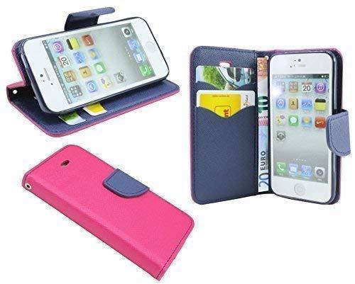 ENERGMiX iPhone 5 / 5S // Buchtasche Hülle Case Tasche Wallet BookStyle mit Standfunktion in Pink-Blau (2-Farbig (Ip5 Wallet)