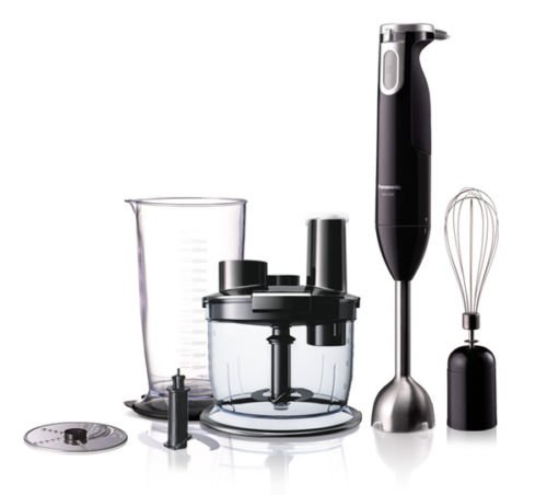 Panasonic MX-SS40BSM 600-Watt Hand Blender with Chopper and Slicer (Black)