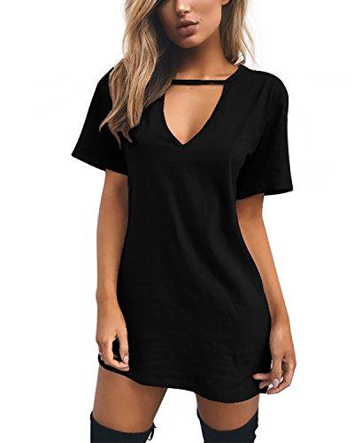 Damen Casual Sommerkleid Minikleid Lose V-Ausschnitt T Shirt Kleid Strandkleid Blusenkleid Kurze Partykleid (Schwarz, XL)
