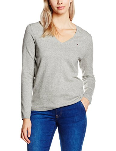 tommy-hilfiger-new-ivy-pull-uni-col-v-manches-longues-femme-gris-light-grey-htr-fr-40-taille-fabrica