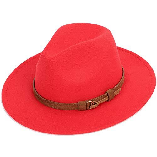 DOGOGO Fedoras - Cappello a Cilindro da Uomo in Feltro, con Visiera in Lana, Stile Vintage Red 56-58 cm