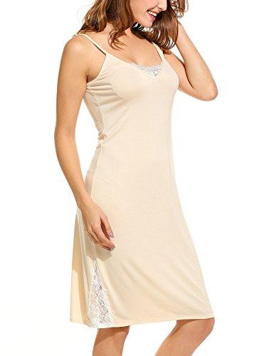 HOTOUCH Damen Nachthemd Nachtkleid Nachtwäsche Sleepshirt Reizvolles Negligees mit Verstellbare Spaghettiträger und Spitze Typ1-Beige