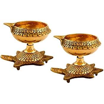 Hashcart Handmade Brass Kuber Diya with Turtle Base, Engraved Design Diyas for Pooja and Return Gifts- (Gold)