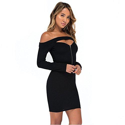 f Schulter Langarm Mini Pencil Bodycon Strickpullover Kleid XL (Womens Größe 14-16 Halloween-kostüme)
