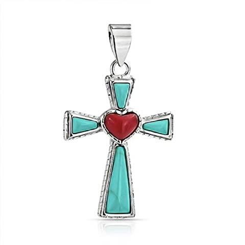 Bling Jewelry Turquoise reconstitué Coeur en argent sterling pendentif Croix - Sterling Silver Turquoise Coral