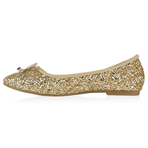 Klassische Damen Ballerinas Metallic Glitzer Flats Party Schuhe Bequeme Zweitschuhe Hochzeit Abiball Gold Creme Glitzer
