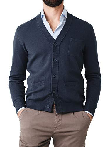Scalpers 3 Pockets Cardigan - Cárdigans para Hombre, Talla S, Color Azul Marina