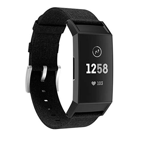 Für Fitbit Charge 3 Ersatz gewebte Canvas Fabric Watch Armbänder Bracelet Strap Wristband für Fitbit Charge 3 Fitness Sport Tracker Damen Herren Small-Large (Schwarz)