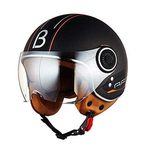 NJ Helm- Transparente kurze Linse, optionaler Regen- und UV-Schutzhelm mit mehreren Farben, Schnellverschluss-Schnallenhelm (Color : Black, Size : M)