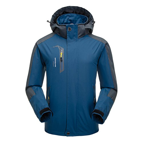 naudamp mens softshell trekking giacche outdoor traspirante campeggio trekking cappotto da arrampicata impermeabile antivento (x-large, blu navy)
