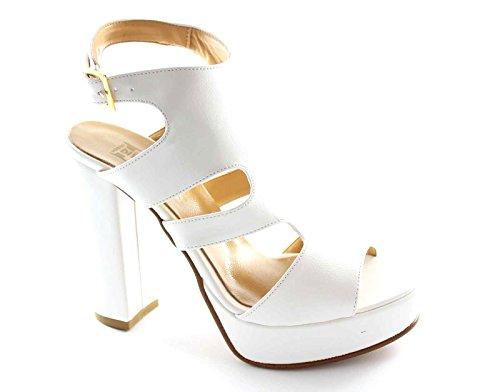 DIVINE FOLLIE 7746 bianco sandali donna tacco plateaux cinghietta 39