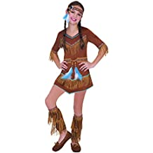f8aed2b493fea Bambino rosso indiano acchiappasogni Pocahontas Squaw Girls costume Fancy Dress  outfit