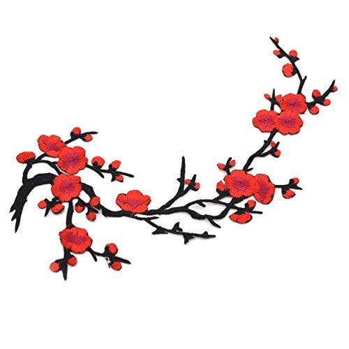 Lychee Toppa Termoadesiva Applique Fiore Plum per Cucito Abbellimenti DIY Embroidery Patch Sew Rosso