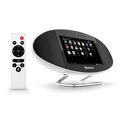 auna Swizz Soundpad Mediacenter Stereoanlage Kompaktanlage Multimedia-Musiksystem (Android 4.4, farbiges Touch-Display, WiFi, Bluetooth, AirPlay, DLNA, Fernbedienung) weiß
