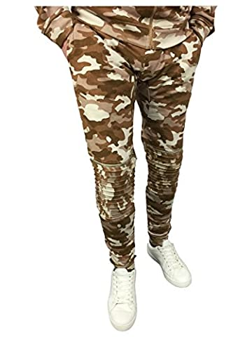 King Kouture Mens Skinny Fit Camo Biker Joggers with Zips in Stone Medium