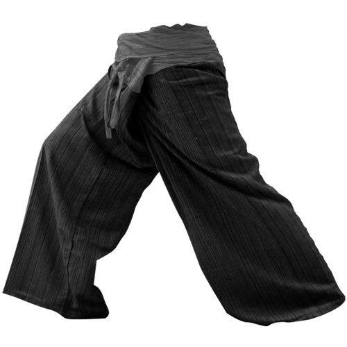 LannaPremium THAICOMPLEX 2 Tone Thai Fisherman Pants Yoga Trousers Free Size Plus Size Cotton -