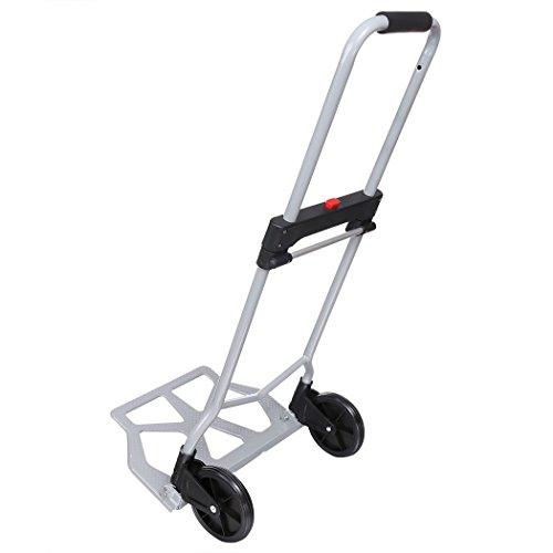 Transportkarre Klappbar, Sackkarre Faltbar mit Griff ausziehbar Klappkarre alu Kapazität 100kg für Einkaufen und Transport Silber