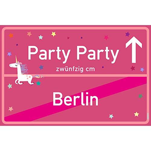 arty Party Berlin Schild pink Party-Ortsschild Ortstafel Wanddeko Party süße Geburtstag Geschenk Frauen Geschenkidee Männer 30x20 cm Schild mit Sprüchen Party Sachen ()
