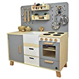 Meppi Kinderküche Kopenhagen, grau - Spielküche aus Holz - Küche für Kinder