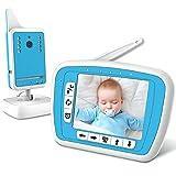 BIBENE - Video Babyphone mit Kamera, 3,3 Zoll Display, Dual Akkus, Temperaturüberwachung, VOX Modus, Gegensprechfunktion, Schlaflieder, Baby Monitor Nachsicht, Video Überwachung für Baby
