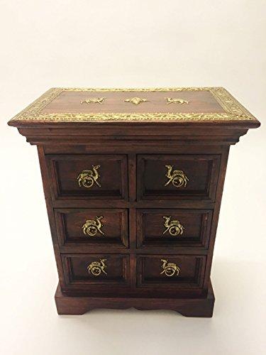 Orientalischer Holz Nachttisch 60cm Hoch   Orient Vintage Nachtkommode orientalisch handverziert   Indischer Nachtschrank auch für Boxspringbett   Asiatische