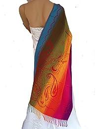 LadyMYP 195cm*70cm Hochwertig Schal Stola bunt aus 100% Pashmina mit floralen Mustern mehrfarbig