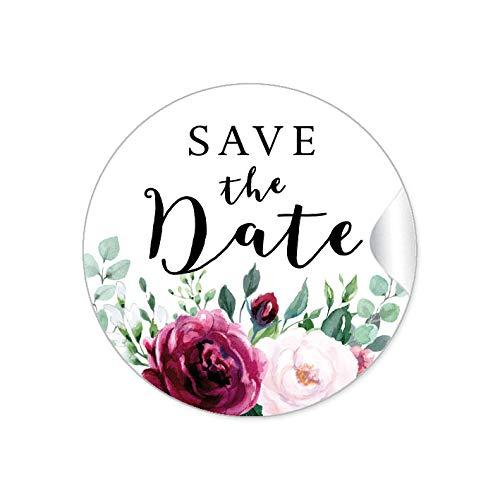 SAVE THE DATE • BOHO HIPPIE STYLE BLÜTEN ROSEN GRÜN ROT ROSA SCHWARZ • Gastgeschenk Etiketten Hochzeit Tischdeko Flaschen Tüten Briefe Einladungen Geburtstag • 4cm rund matt ()