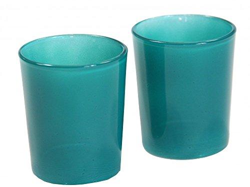 Unbekannt 2 Teelichtgläser Petrol Kommunion Konfirmation Tischdeko Deko