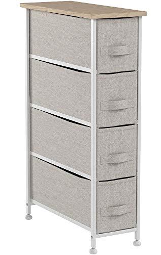 mDesign Kommode aus Stoff - praktischer Schrank Organizer mit 4 Schubladen - schmales Aufbewahrungssystem für Schlafzimmer, Schlafsaal und Waschküche - beige