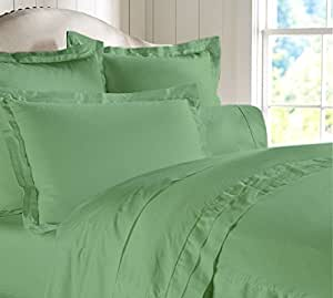 "Egyptian cotton Luxurious Sheet Set with 20"" Deep Pocket 600 TC Solid by Amrich Bedding ( Queen , Sage )"