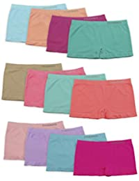 Channo Braguitas Estilo Culotte Niña Licra Lisos Distintos Colores. Modelo Sin Costura. Elástico Suave Microfibra. Pack de 12 Bragas