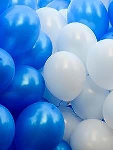 GrandShop 50193 Toy Balloons Metallic HD Blue & White (Pack of 50)