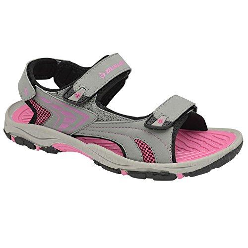 Damen Weite Passform Trekking Sandalen By Dunlop Grau Fuchsia