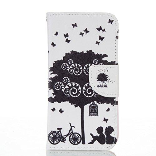 JGNTJLS Elegante Custodia a portafoglio di qualità, per iPhone 5C, con protezione per lo schermo in vetro temperato, in Pelle PU, con inserti per carte di credito, Ultra Sottile, dimensioni: 10,16 cm, Pink,Tree#3