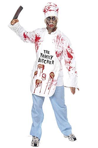 Smiffys, Herren Tödlicher Koch Kostüm, Jacke, Mütze, Schürze und Hose, Größe: M, 36832