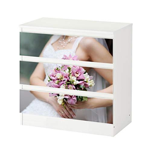 Set Möbelaufkleber für Ikea Kommode MALM 3 Fächer/Schubladen Braut Brautkleid Blumen Freesie rosa...