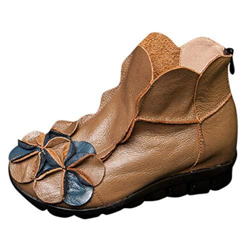 Schildkröte Der Hase Und Kostüm - MYMYG Ankle Boot Winterschuhe Frauen handgenähte Blumen Schuhe ethnischen Stil Stiefel Leder Casual Stiefel Klassische Freizeitschuhe Kurzschaft Wildleder Madeline Boots