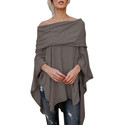 UFACE Damen Langarmshirts Lose Asymmetrisch Jumper Sweatshirt Bluse Oberteile Irregular Tops (Kaffee, XL)