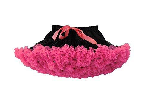 Elfin-Lore Niñas Falda Tutú Princesa de Tul 2-4 Años Ballet Danza Enaguas Carnaval Boda Disfraces Negro/Rose - S