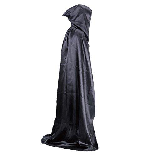 Cozypony® 160 cm Halloween-Umhang mit Kapuze, Langer Umhang für Erwachsene, Kostüm, Mittelalter-Kostüm, Party, Schwarz