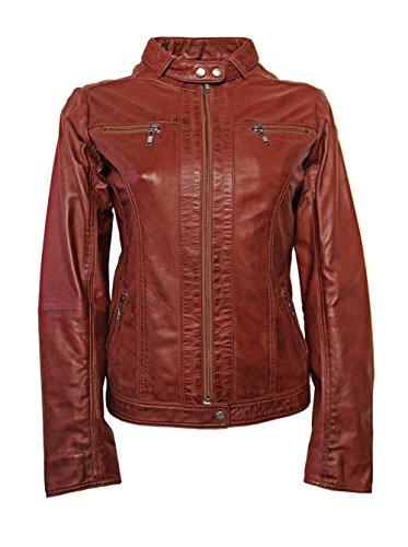 Unbekannt Damen-Lederjacke im Vintage-Look Blousonform Ziegelrot (42) - Ziegelrot Leder