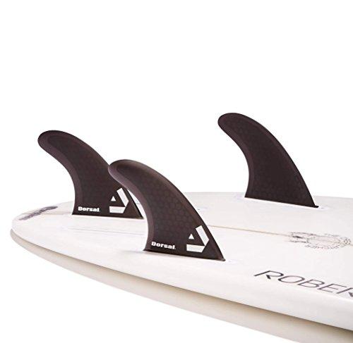Dorsal Surfboard Fins Hexcore Thruster Set (3) Honeycomb FUT Base Black