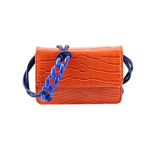 VADFLOD Geprägte Crocodile Alligator Pattern Umhängetasche Vollnarbenleder Taschen Flap Freizeit Crossbody Taschen Geldbörse für Lady, Orange -
