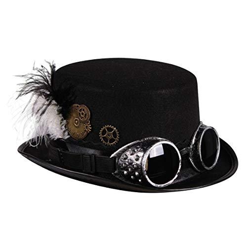 Thetru Steam-Punk-Zylinder in schwarz | Einheitsgröße Erwachsene | Steampunk-Hut mit Brille für Karneval und Fasching