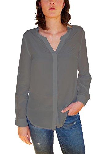 Posh Gear Damen Seidenbluse camicetta Bluse Aus 100% Seide, Grau, Größe S (Seide S/s Aus Bluse)