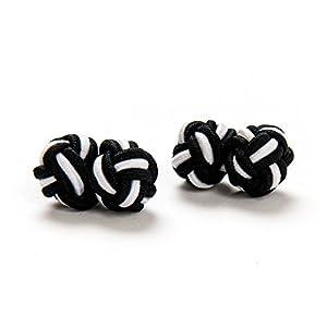 1 Paar Manschettenknöpfe Seidenknoten Knoten Knötchen schwarz weiß einfarbig hochwertig Stoffknoten Cufflinks Gentleman Umschlagmanschette Manschette dehnbar London Style