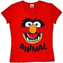 Logoshirt Los Muppets - Animal Cara Camiseta para Mujer - Rojo - Diseño Original con Licencia