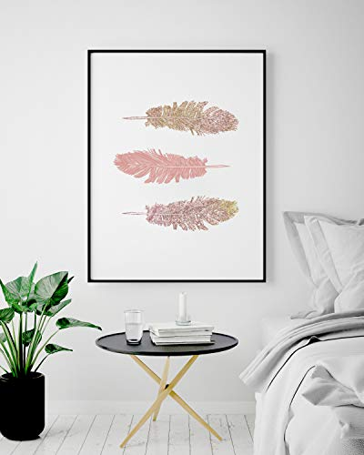 Stampa con tre piume rosa, poster con stampa a parete rosa, decorazioni, decorazioni per nativi americani, decorazioni per la fattoria 3 Pink Feathers