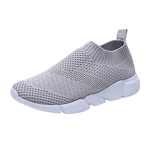 YWLINK Damen Socken Schuhe Outdoor Schuhe Freizeit Slip On Bequeme Sohlen Sports Atmungsaktiv Mesh Schuhe(Grau,EU 35.5)