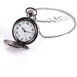 Pocket Watch - SODIAL(R)Pocket watch quartz men women silver mirror ball black box clip chain